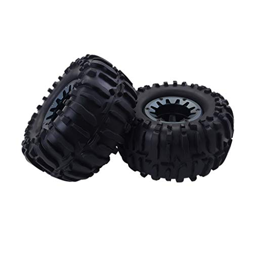 NOMENI 2PCS Car Tires Rubber Wheel Tyre 82mm for 1:16 RC On Road Rock Crawler Car Truck