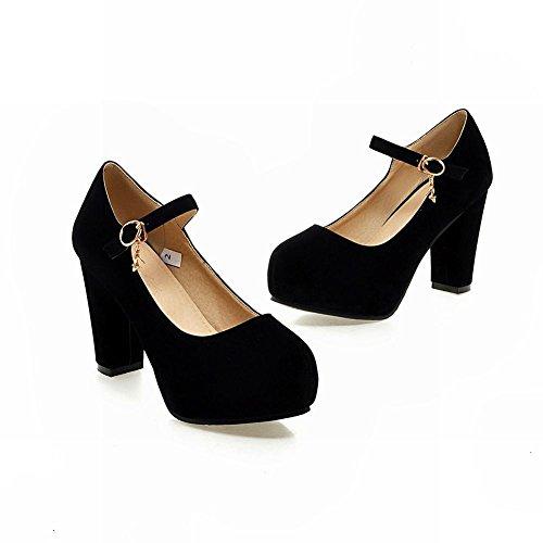 Charm Foot Womens Fashion Cinturino Alla Caviglia Pompe Tacchi Alti Nero