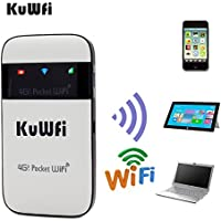 KuWFi 4G Lte Pocket WiFi Router unlocked LTE 4G Mobile WiFi Hotspot Portable 4G Router with sim card slot goods for travel and Business trip Support LTE FDD B1/B3/B5 Support AT&T