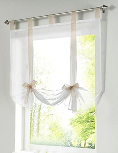 1pcs Bowknot Tie-Up Roman Shades Tab Top LivebyCare Sheer Balcony Balloon Window Curtain Voile Valance Drape Drapery Panels for Drawing Room Decor Decorative