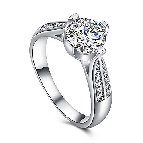 Xinantime Women's Round White Wedding Crystal Silver Flower Ring Sizes 6-9 (9)
