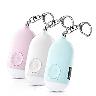 Safesound Personal Alarm Siren Song 3 Pack - 130dB Self Defense Alarm Keychain Emergency LED Flashlight with USB Rechargerable - Security Personal Protection Devices for Women Girls Kids Elderly
