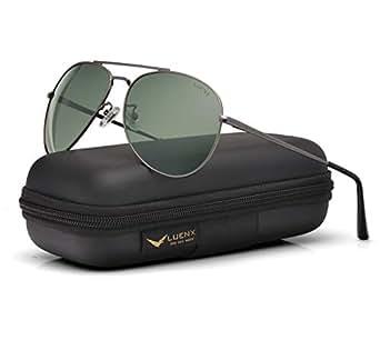 LUENX Men Women Aviator Sunglasses Grey Green Polarized Non-Mirrored with Accessories Gun Metal Frame UV 400 60MM