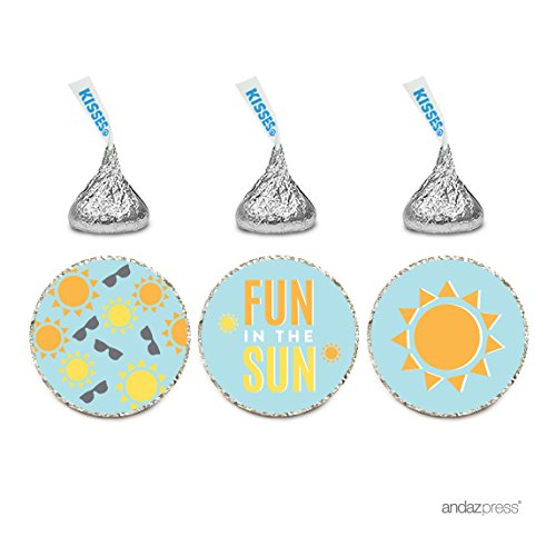 Andaz Press Birthday Chocolate Drop Labels Trio, Fits Hershey's Kisses Party Favors, Sunglasses, Sun, Fun in the Sun! Beach Themed Party, - With Sunglasses California Love From