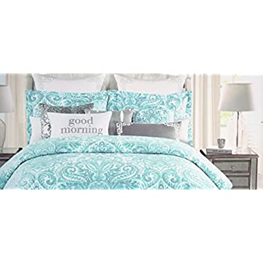 Tahari 3 Piece King Duvet Cover Set Aqua Blue and Silver Floral Paisley Medallion Pattern on White