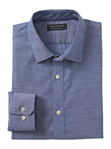 - Banana Reublic Mens Standard-Fit Non-Iron Chambray Shirt, Chambray (S)