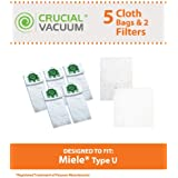 5 Miele HEPA Style Deluxe Type U Allergen Bags + 2 Filters Designed To Fit Miele Type U S7 Series Upright Vacuums; Compare to Miele Part # 07282050;Designed & Engineered By Crucial Vacuum