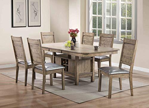 ACME Furniture Acme 72002 Ramona Side Chair, Silver PU & Rustic Oak (Set of 2) ()