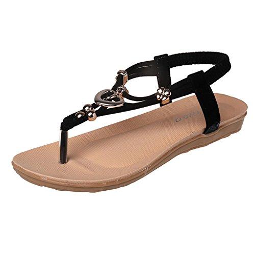 Zapatos Flop Playa Chancletas Planos Verano Chanclas Sandalias Negro Para Corazón Boho Sandalia Flip Mujer x4wqYUgE
