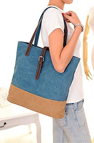 Mujeres SDINAZ Colorblock Bolsas Bolso Mujer Bandolera de Azul Lona Hombro para Azul Grandes Larga Bolsos en con rw76Srq