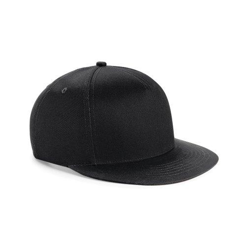 Beechfield Youth Unisex Retro Snapback Cap (One Size (12-16 Years)) (Black/ Black)