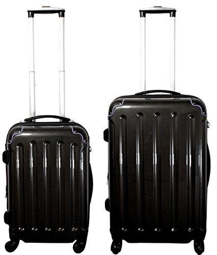 Set valigie 2-pezzi 65 + 55 cm, 4 Rotoli, Pieghe, colore: nero, Trolley - Set