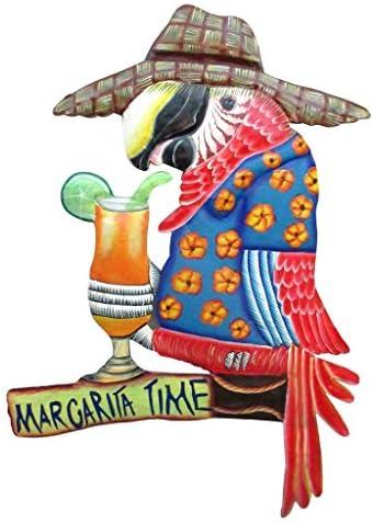 Margarita Time Parrot Metal Wall Art