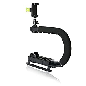Fantaseal DC+DV+3-in-1 Camera Steadycam Mount Hand Grip C Stabilizer Bracket Low Position Shooting Rig Handle Support Holder w/3 Axis Hot Shoe Bubble Level for Gopro /SJCAM/Garmin Virb