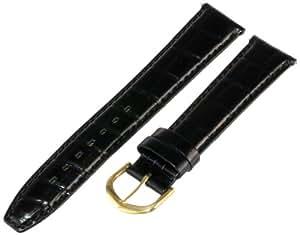 Voguestrap TX45318BK Allstrap 18mm Black Regular-Length Tile Crocodile Calf Watchband
