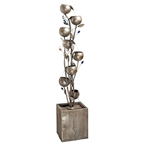 Design Toscano Abstract Floral Cascading Metal Tower Fountain