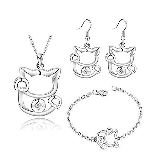 Majesto Jewelry Set Cat Necklace Pendant Adjustable Bracelet 6.5-8.5 Inch and Earrings for Women Girls Mom Teens Jewelry Gifts 925 Sterling Silver