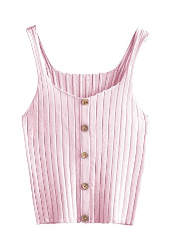 SweatyRocks Women's Sleeveless Vest Button Front Crop Tank Top Ribbed Knit Belly Shirt Pink One Size