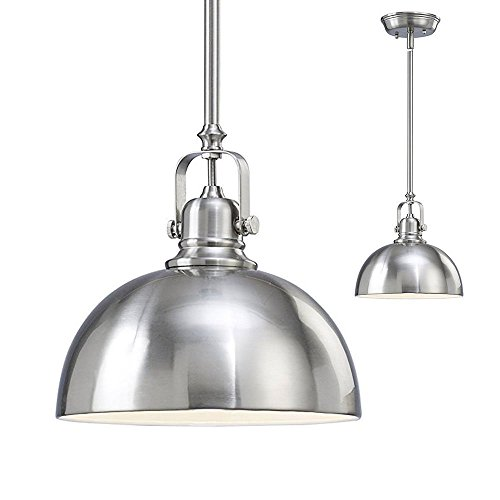 2 Pack of Kitchen and Bar 1 Light Mini Pendants with Brushed Nickel Metal Shade