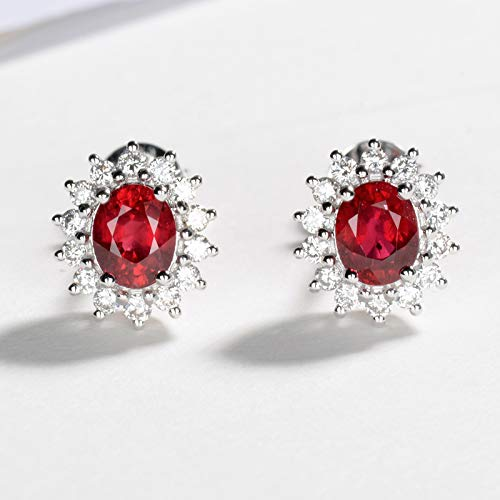 Unique 18k white gold with burnt pigeon red ruby earrings classic Diana style diamond earrings birthday gift present stud earrings for women