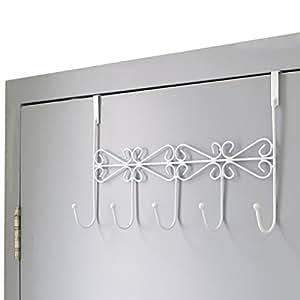Over Door Rack Hook Hanger. Marrywindix White Metal 5 Hook Metal Hanger for Hanging Clothes , Coat , Hat Belt