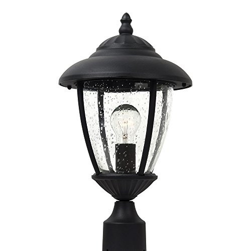 Oxford Glass Clear Seeded (Sea Gull Lighting 82068-12 Lambert Hill One-Light Outdoor Post Lantern with Clear Seeded Glass Panels, Black Finish)