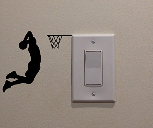 YINGKAI Two Handed Slam Dunk Basketball Player Dunking on Light Switch Decal Vinyl Wall Decal Sticker Art Living Room Carving Wall Decal Sticker for Kids Room Home Window Decoration (Light Stickers)