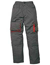 "Delta Plus Men's Mach2 Kneepad Pocket Work Pants Large - 32""-36"" Waist - 32"" Leg Grey With Orange Trim"