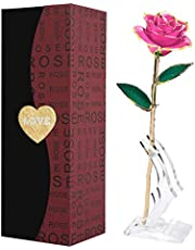 24k Gold Rose,Forever Roses Flower Long Stem 24k Rose Dipped Real Rose, Best Gift for Valentine's Day, Mother's Day, Anniversary and Birthday