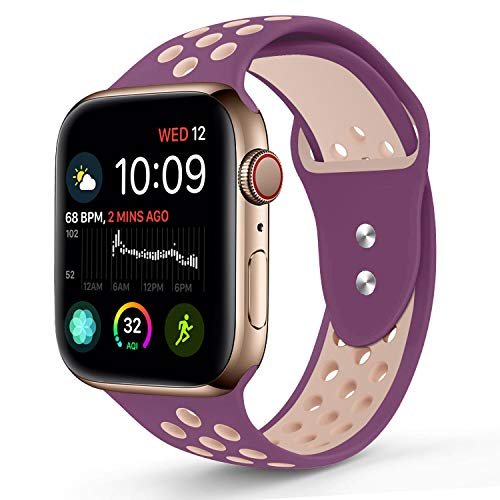 RUOQINI Compatible for Apple Watch 44MM, Dual-Color Soft Silicone Sport Replacement Band Compatible for Apple Watch Series 4 (M/L Size in Violetdust/Plumfog Color)
