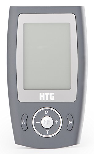 HTG Life TENS Muscle Stimulator - Pain Relief for Back, Neck, Arms, Shoulder & Knees - Rechargeable with Handheld Control Unit - For Sports Injuries, Recovery & Chronic Pain