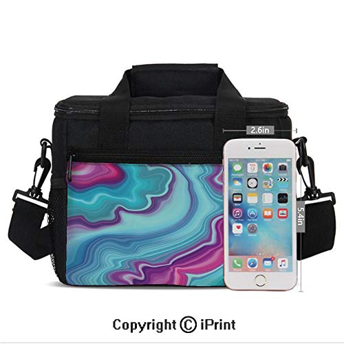 Insulated Lunch Bag Box for Men and Women, Abstract Color Formation Wavy Aqua Pink Lines Agate Slab Mineral Layers Geographic converts to a Tote Handbag - Easy to Clean Polyester Cloth for Adults and (Slab Built Pottery)