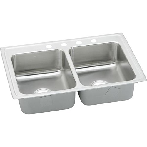 Hole Bowl Double Self Rimming (Elkay LRAD2918503 3-Hole Gourmet Lustertone 29-Inch x 18-Inch Self Rimming Double Basin Stainless Steel Kitchen Sink)