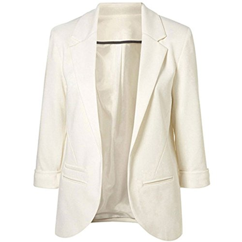 Two Pocket Wool Skirt - SEBOWEL Women's Fashion Casual Rolled Up 3/4 Sleeve Slim Office Blazer Jacket Suits White S