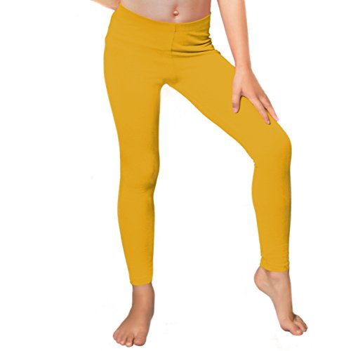 Stretch is Comfort Girl's Cotton Footless Leggings Mustard Yellow Medium -