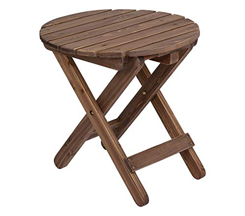 Beach Decor Premium Rustic Round Folding Table, Rustic Wine