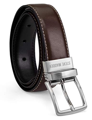 Steve Madden Boys' Big Reversible Belt for Kids, brown/black, Medium