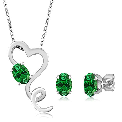 Sterling Silver Simulated Emerald Heart Shape Pendant Earrings Set (3.20 cttw, With 18 Inch Silver Chain)