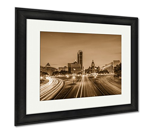 Ashley Framed Prints Dallas Texas USA Cityscape, Wall Art Home Decoration, Sepia, 26x30 (frame size), Black Frame, - Plaza Downtown Hours