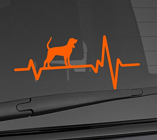 Tan Coonhound Sticker - Heart Beat Line Heartbeat DOG BLACK AND TAN COONHOUND HUNTING GUN Love Food Bowl Canine Puppy Paw Love Car Vinyl Sticker Wall Decal 3.75