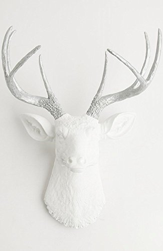 White Faux Taxidermy The Frankfurt White Faux Deer Head W...