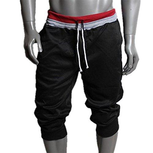HANYI Men Sport Sweat Pants Shorts Harem Dance Baggy Jogging Training Trousers Leggings (M, Black)