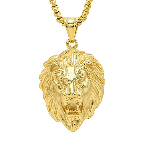 Lax Jewelry Mens Stainless Steel Gold Lion Head Pendant Necklace, 24 inch Cuban Chain (Lion Head)