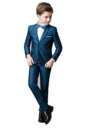 Toddler Kids Boys Suits 5 Piece Slim Fit One Button Suit for Boys Blue Size 4T