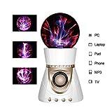ElementDigital Magic Plasma Ball Touch Sensitive Plasma Ball with Bluetooth Speaker Desdtop Light Lightning Lamp Party Xmas Gift Fantastic Flashing Lightning Ball Spherical (White+Gold)