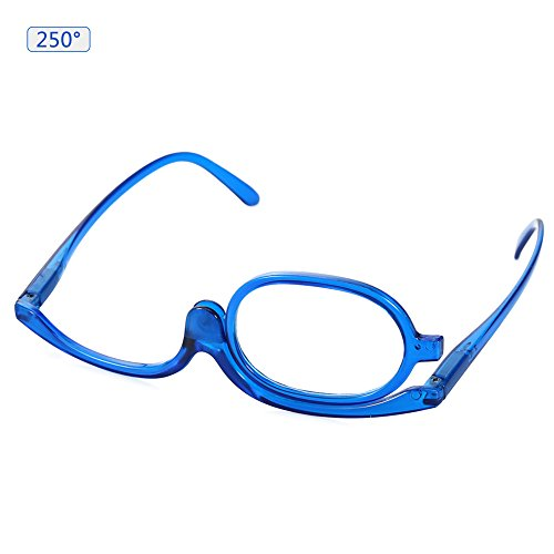 Monocle Reading Eyeglass Makeup & Cosmetic Eyewear with Resin Optical Lens 2 Colors 7 Strengths (Blue 250 Degree)