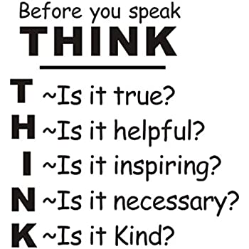 Amazoncom Anber Think Before You Speak Motivational Quotes Vinyl