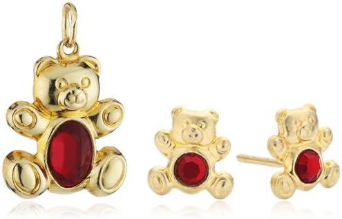 Orphelia - Juego de joyas de oro amarillo de 18 quilates con rubí