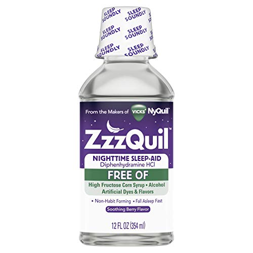 - ZzzQuil Nighttime Sleep Aid Alcohol Free Liquid, Soothing Mango Berry Flavor, 12 Fl Oz (Packaging May Vary)
