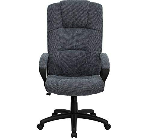 Flash Furniture High Back Gray Fabric Executive Swivel Chair with Arms - BT-9022-BK-GG